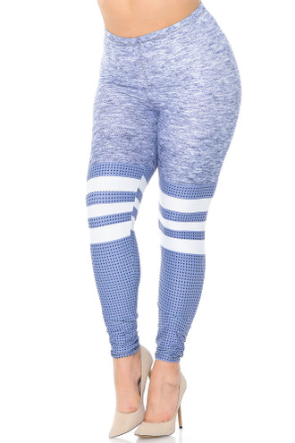 Creamy Soft Split Sport Light Heathered Extra Plus Size Leggings - 3X-5X