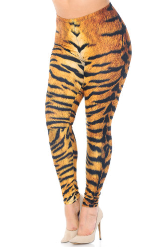 Creamy Soft Tiger Print Plus Size Leggings - USA Fashion™