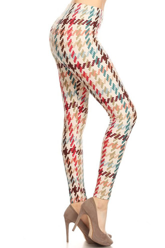 Buttery Soft Earth Tone Pixel Zags Leggings