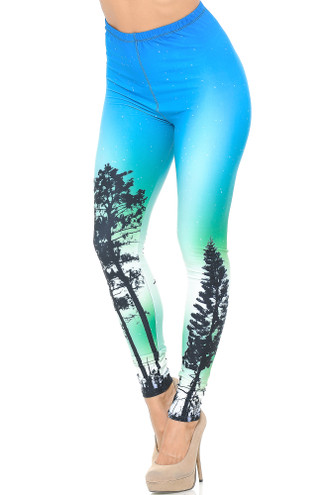 Creamy Soft Blue Sunset Leggings - USA Fashion™