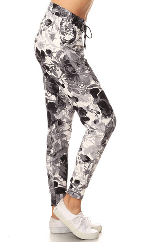 Brushed Black and White Floral Joggers