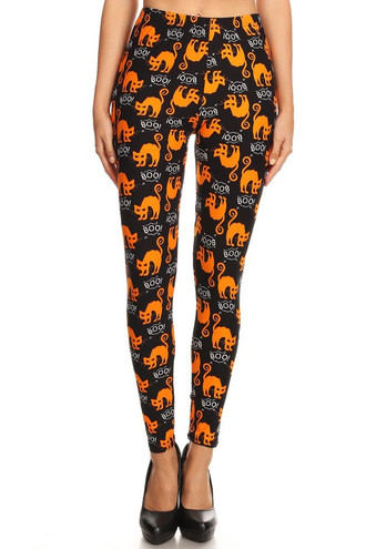 Brushed Halloween Kitty Cats Extra Plus Size Leggings - 3X-5X