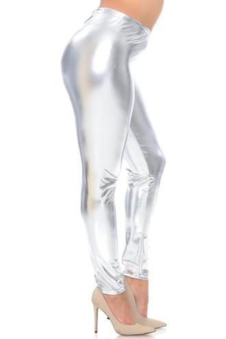Shiny Metallic Plus Size Leggings