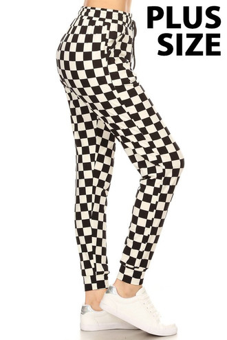 Brushed Black and White Checkered Plus Size Joggers