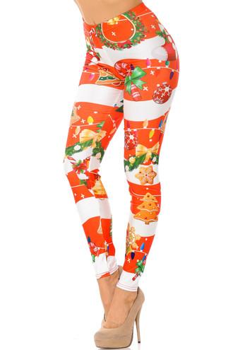 Holiday Festive Red Christmas Garland Wrap Leggings
