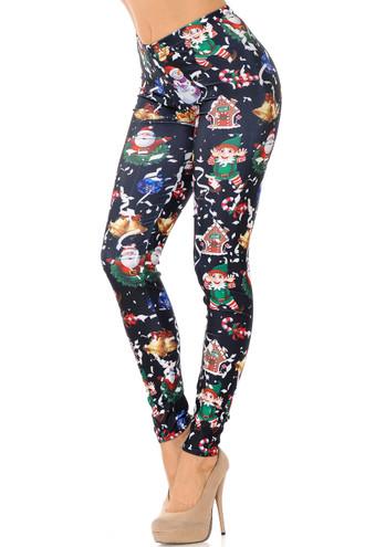 Wonderful Festive Christmas Leggings - Black