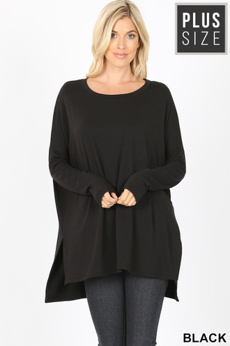 Dolman Sleeve Round Neck Side Cut HI-LOW Hem Plus Size Top