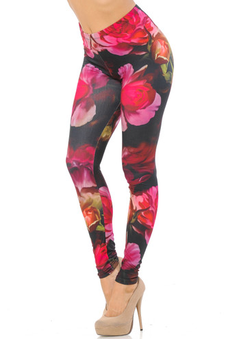 Double Brushed Vintage Roses Leggings