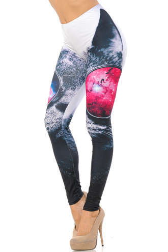 Double Brushed Cool Sunglasses Kitty Cat Leggings