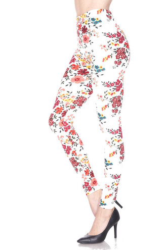 Brushed Fresh Spring Floral Plus Size Leggings