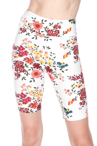 Brushed Fresh Spring Floral Plus Size Shorts