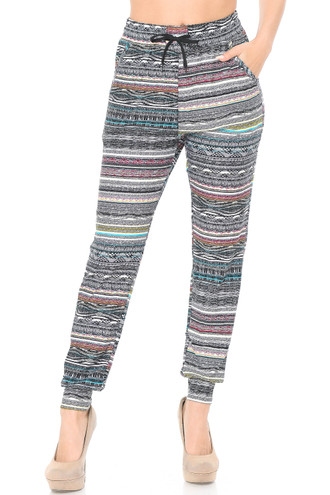 Brushed Tribal Cascade Joggers