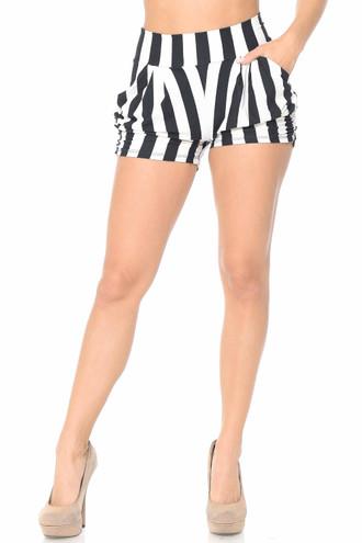 Brushed Wide Stripe Plus Size Harem Shorts