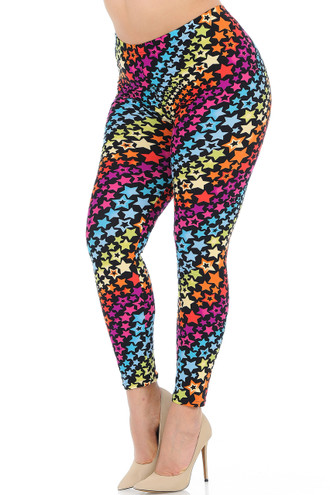 Brushed Flowing Rainbow Stars Plus Size Leggings