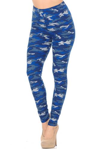 Brushed Blue Grid Camouflage Plus Size Leggings