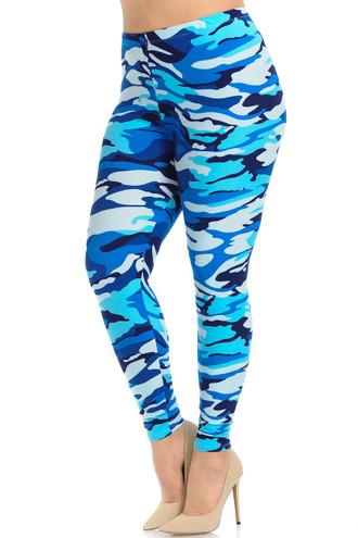 Brushed  Blue Camouflage Plus Size Leggings