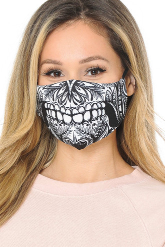 Elaborate Skull Graphic Print Fashion Face Mask