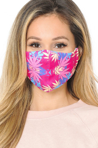 Pink Marijuana Graphic Print Face Mask