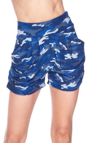 Buttery Soft Blue Grid Camouflage Harem Plus Size Shorts