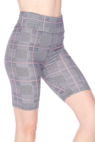 Buttery Soft Coral Accent Glenn Plaid Biker Shorts - 3 Inch Waist Band