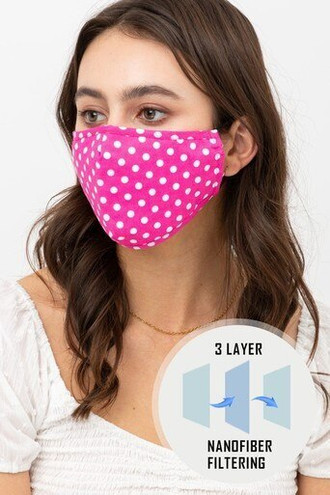 Pink Polka Dot Fashion Face Mask with Built In Filter and Nose Bar