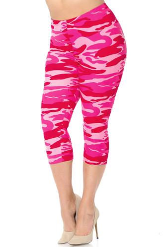 Buttery Soft Pink Camouflage Plus Size Capris