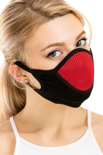 Red Unisex Multi Layer Fabric Mesh Comfort Face Mask