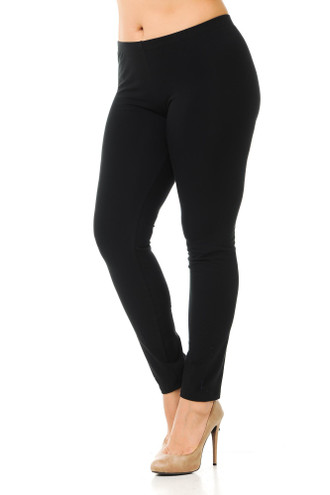 45 degree angled view of black plus size qUSA Cotton Full Length Leggings