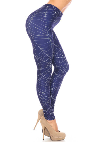 Side Creamy Soft Spiderwebs Halloween Extra Plus Size Leggings - 3X-5X - By USA Fashion™