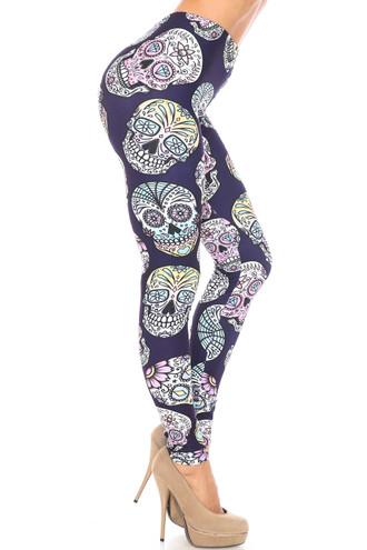 Creamy Soft Indigo Jelly Bean Sugar Skull Leggings - By USA Fashion™