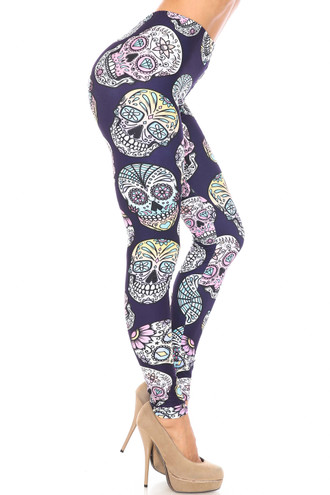 Creamy Soft Indigo Jelly Bean Sugar Skull Plus Size Leggings - By USA Fashion™