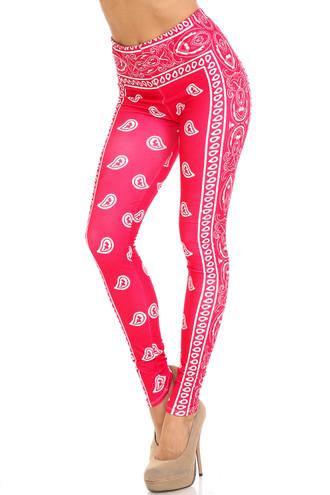 Creamy Soft Red Bandana Extra Plus Size Leggings - 3X-5X - USA Fashion™