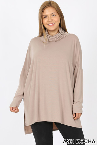 Front image of Ash Mocha Rayon Cowl Neck Dolman Sleeve Plus Size Top