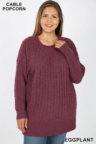 Front image of Eggplant Cable Knit Popcorn Round Neck Hi-Low Plus Size Sweater