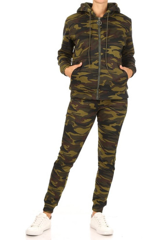 2 Piece Fur Lined Camouflage Leggings and Hooded Jacket Set
