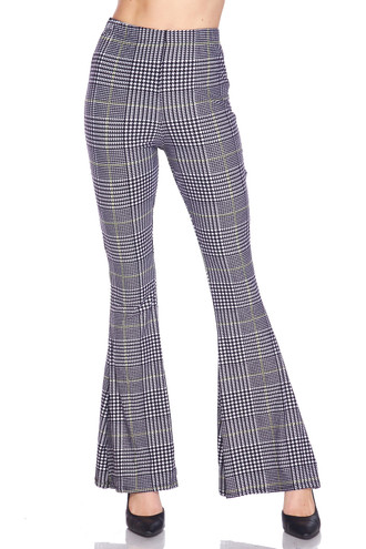 Buttery Soft Sunshine Plaid Bell Bottom Leggings
