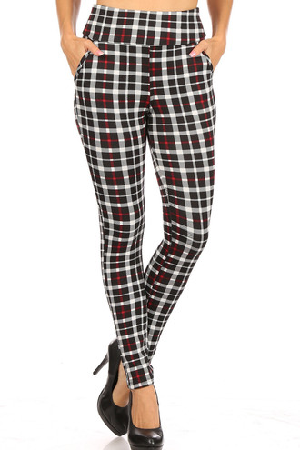 Red Accent Plaid High Waisted Body Sculpting Treggings with Pockets