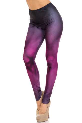 Creamy Soft Fuchsia Silhouette Plus Size Leggings - USA Fashion™