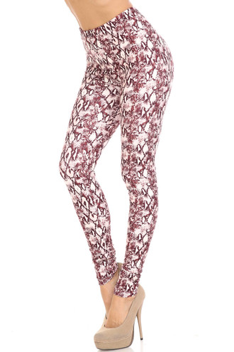 Creamy Soft Crimson Snakeskin Plus Size Leggings - USA Fashion™