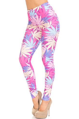 Creamy Soft Pretty in Pink Marijuana Plus Size Leggings - USA Fashion™