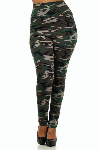 High Waisted Cotton Camouflage Plus Size Leggings - Made in USA