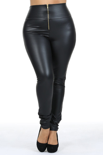 High Waisted Matte Faux Leather Plus Size Leggings with Zipper - Made in USA