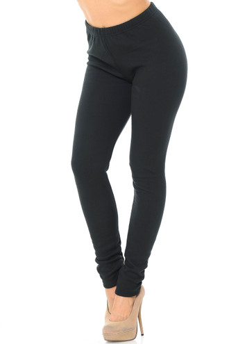 45 degree view of solid black Creamy Soft Fleece Lined Plus Size Leggings - USA Fashion™