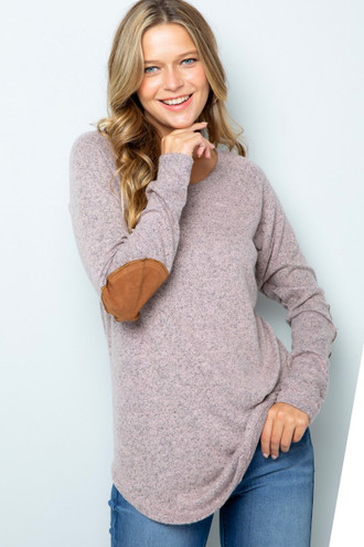 Mocha Waffle Knit Elbow Contrast V Neck Long Sleeve Plus Size Top