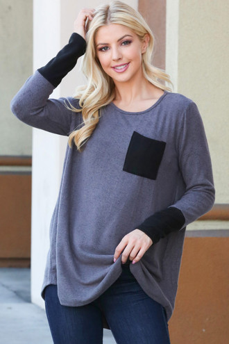 Grey Contrast Cuff Long Sleeve Top with Front Pocket