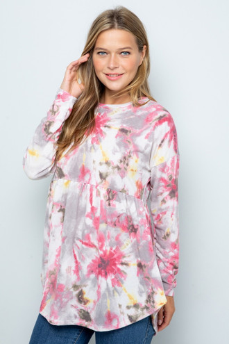 Magenta Pleated Hem Tie Dye Long Sleeve Top