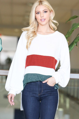 Ivory Hi-Low Color Blocked Long Sleeve Top