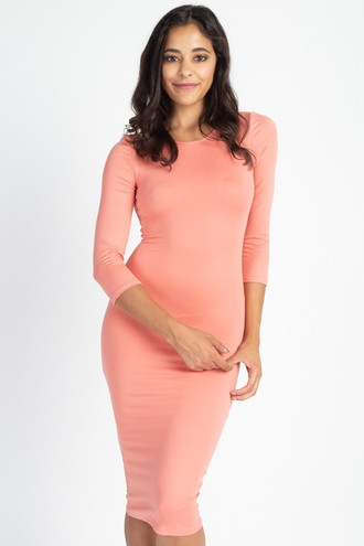 3/4 Sleeve Round Neck Stretch Knit Midi Dress