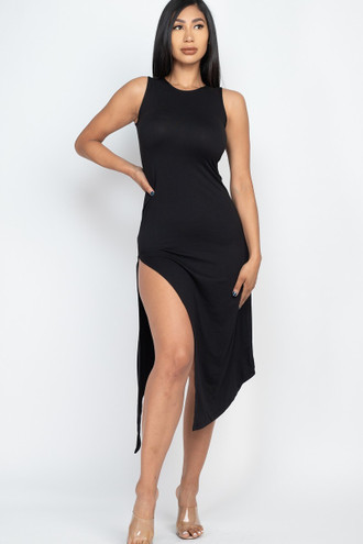 Sleeveless Round Neck Side Slit Maxi Dress