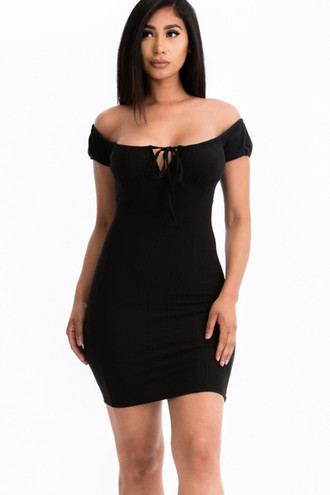 Off the Shoulder Rib Knit Tie Front Bodycon Mini Dress